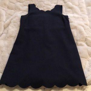 J. Crew Navy Blue Scallop Neck Dress